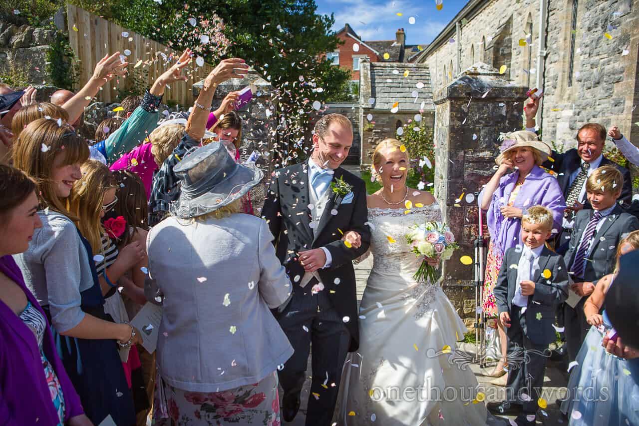 Colourful wedding confetti a swanage church wedding