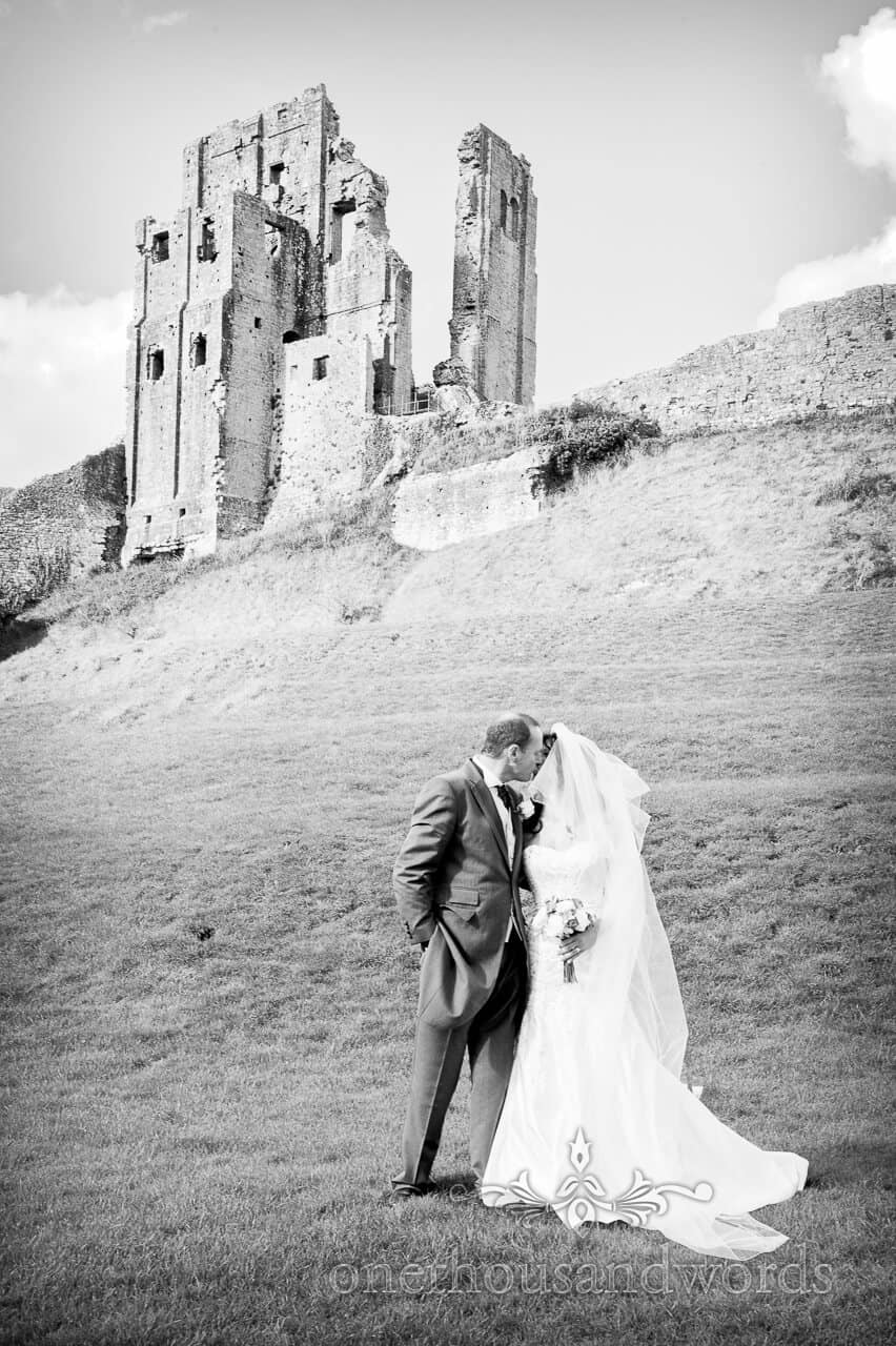 Corfe Castle Wedding photograph in black and white