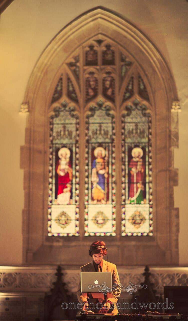 DJ in Church at Plush Manor Wedding Evening Reception