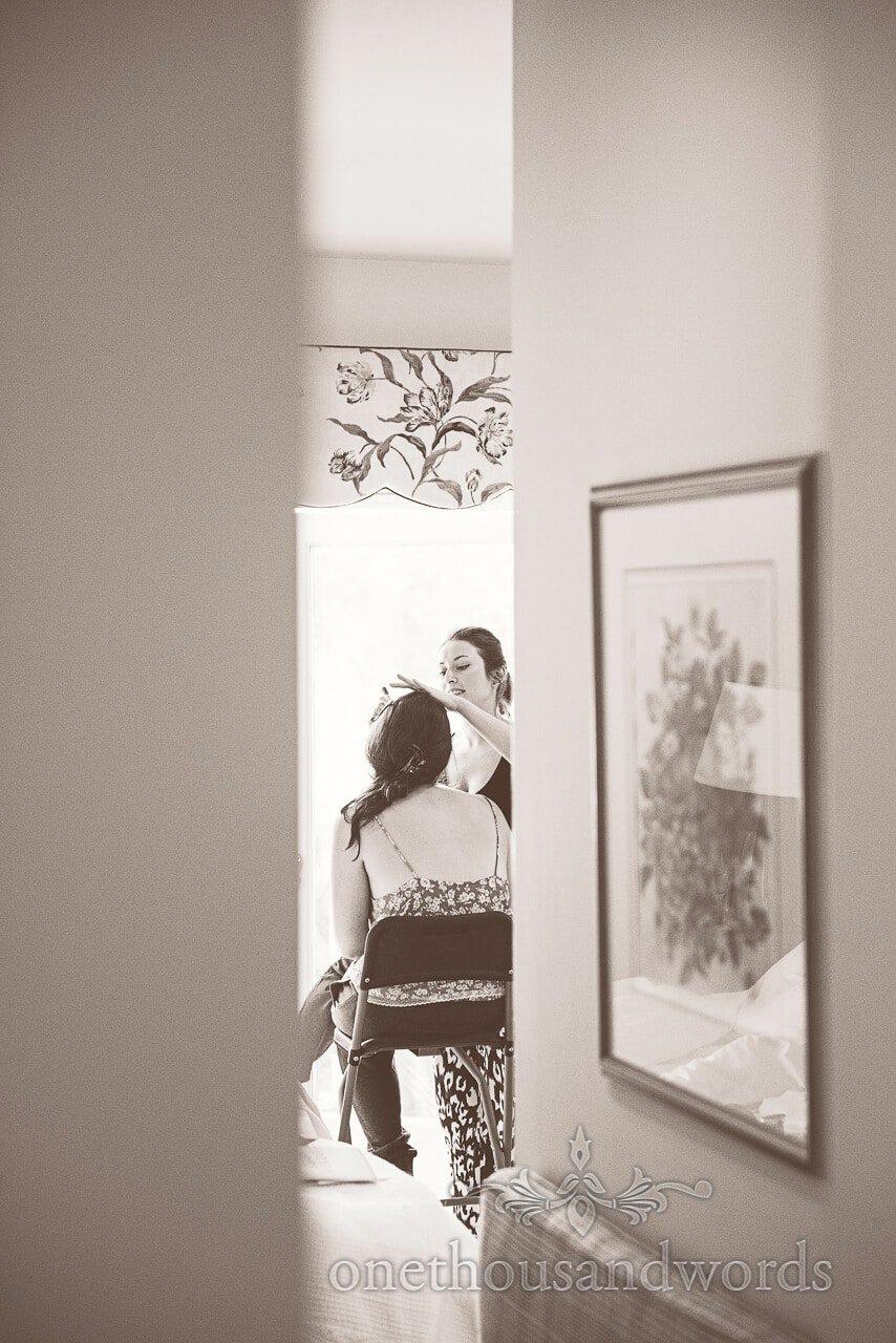 Black adn white wedding makeup photograph