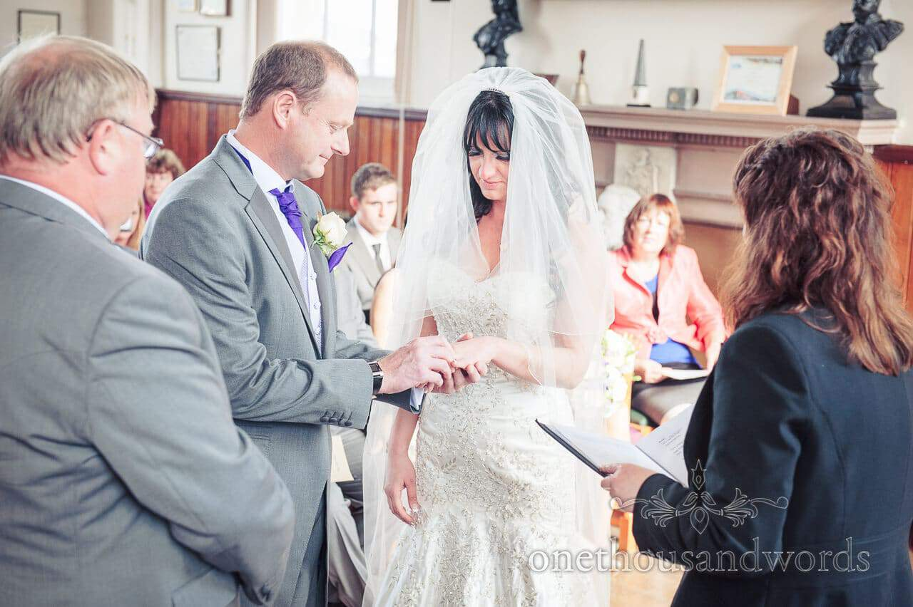 Exchange of the rings photograph at Swanage Town Hall Wedding