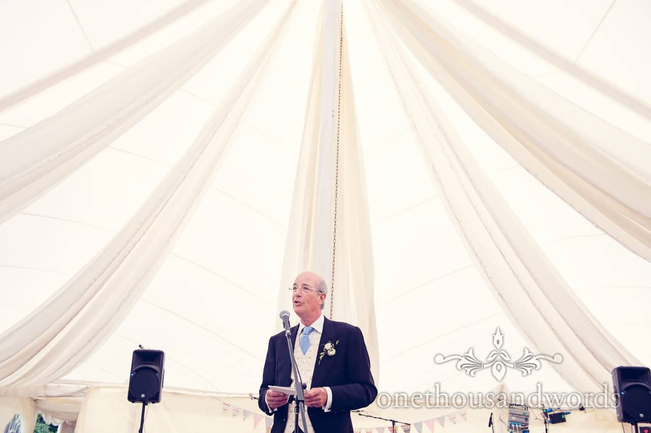 Father of bride speech in wedding marquee