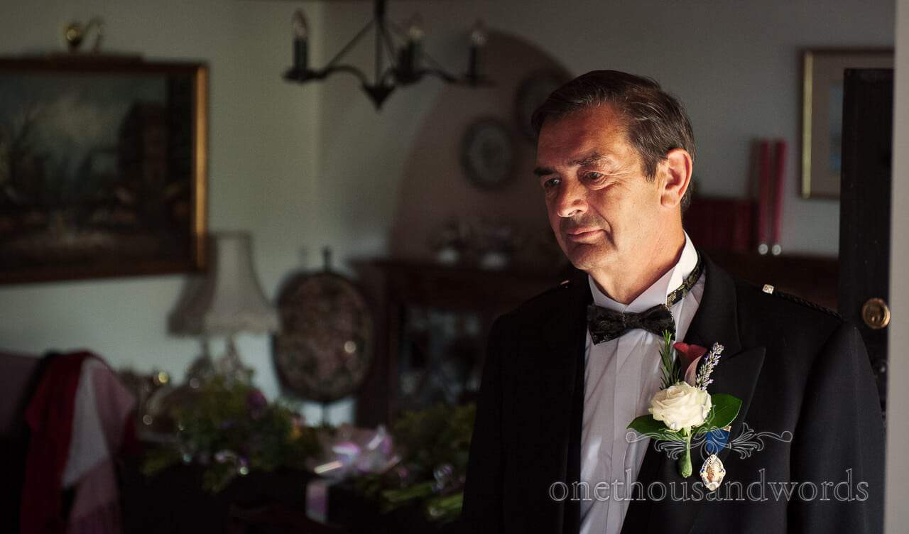 Father of the bride in wedding bow tie