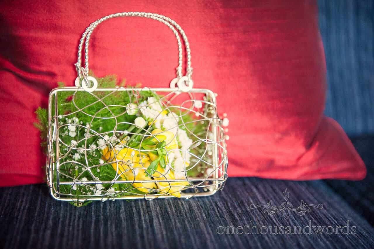 Flowergirl caged handbag wedding photograph