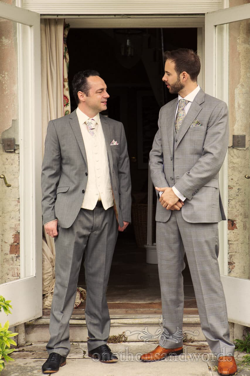 Groom and Best Man at Plush Manor Wedding Venue in Dorset