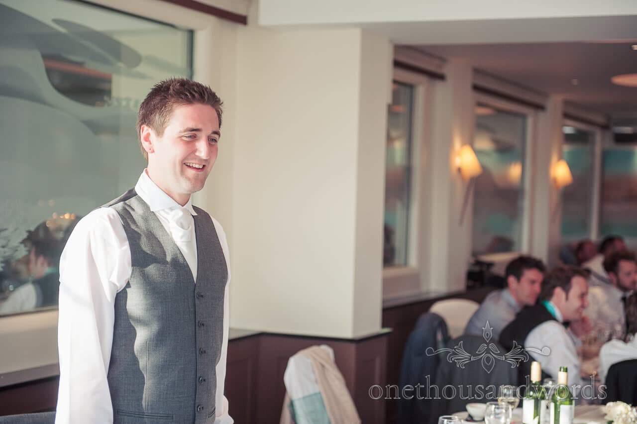 Groom at Poole Hotel wedding