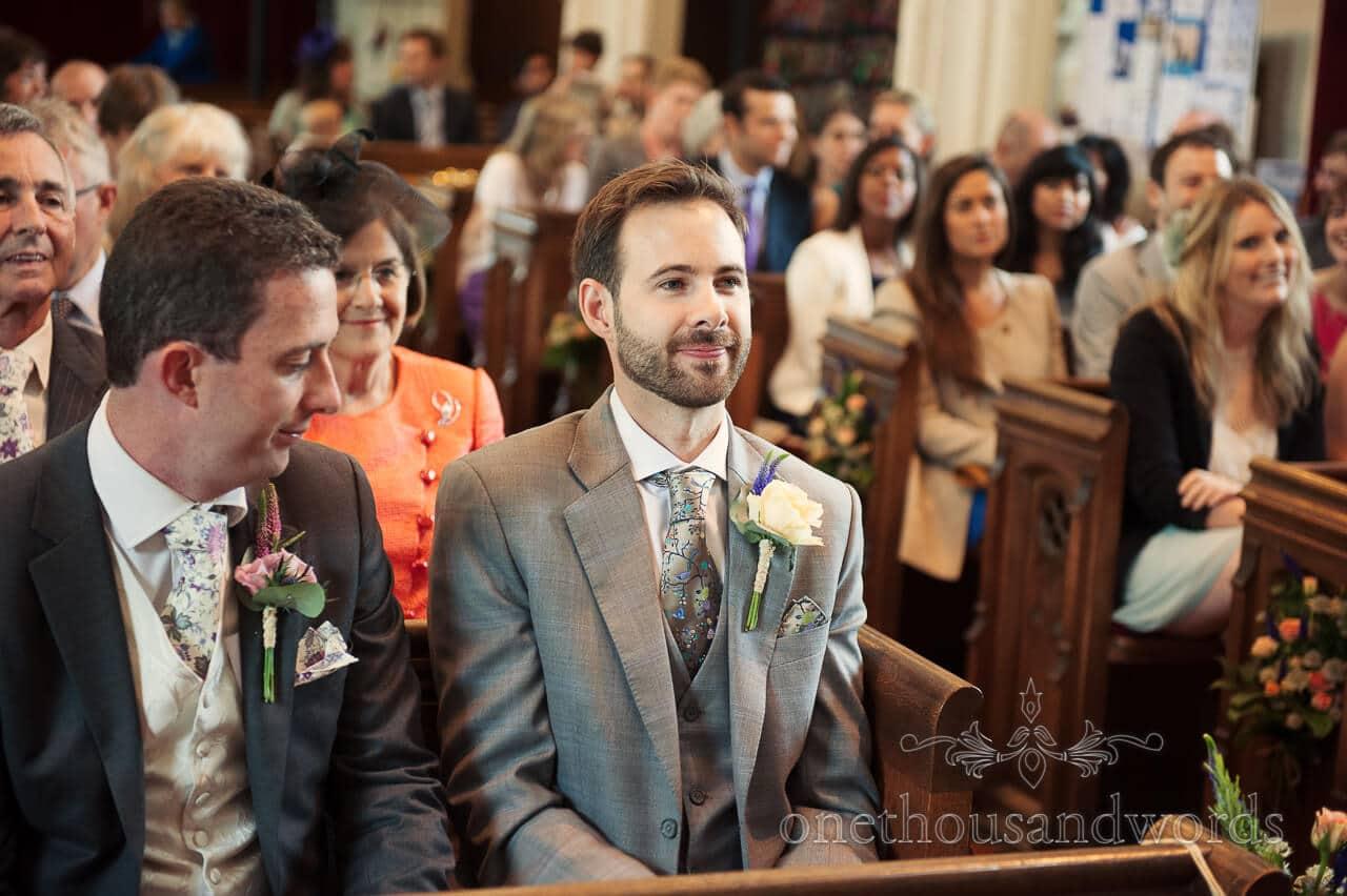 Groom awaits bride at Abbotsburch Church wedding