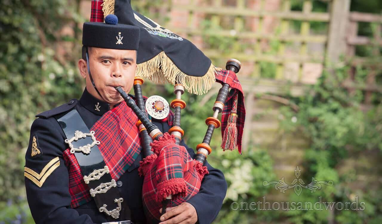 Gurkha bag piper at Military wedding photographs