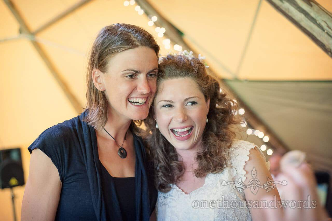 Heather Stanning Gold Olympian with bride on wedding day