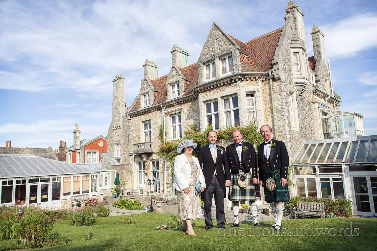 Kilted wedding party at Purbeck House Hotel in Dorset