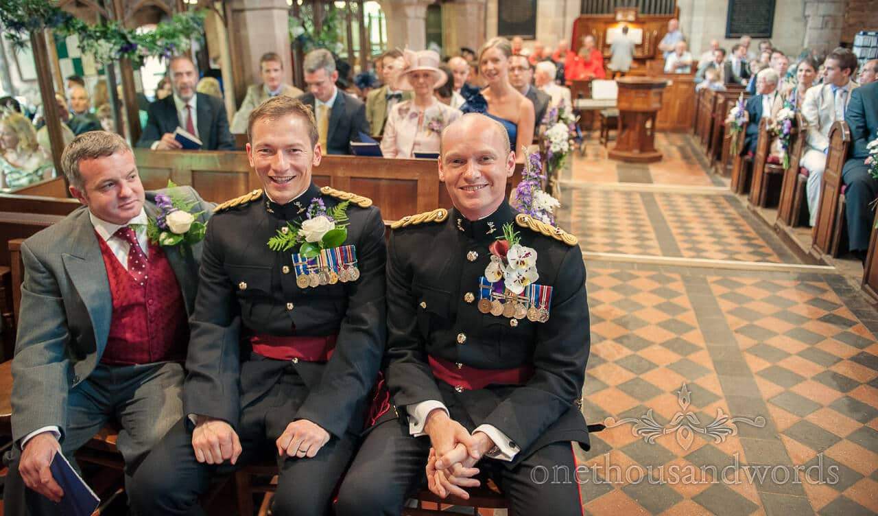 military wedding photographs of groom and best man
