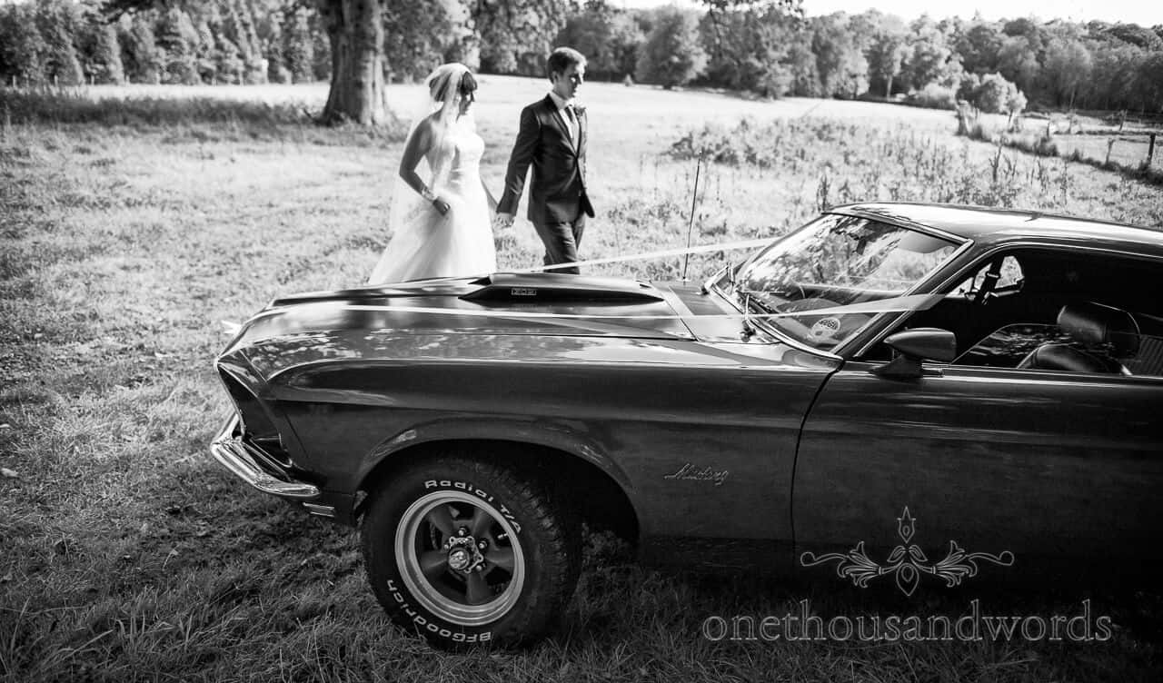 Mustang wedding car at weddings in the wood, New Forest