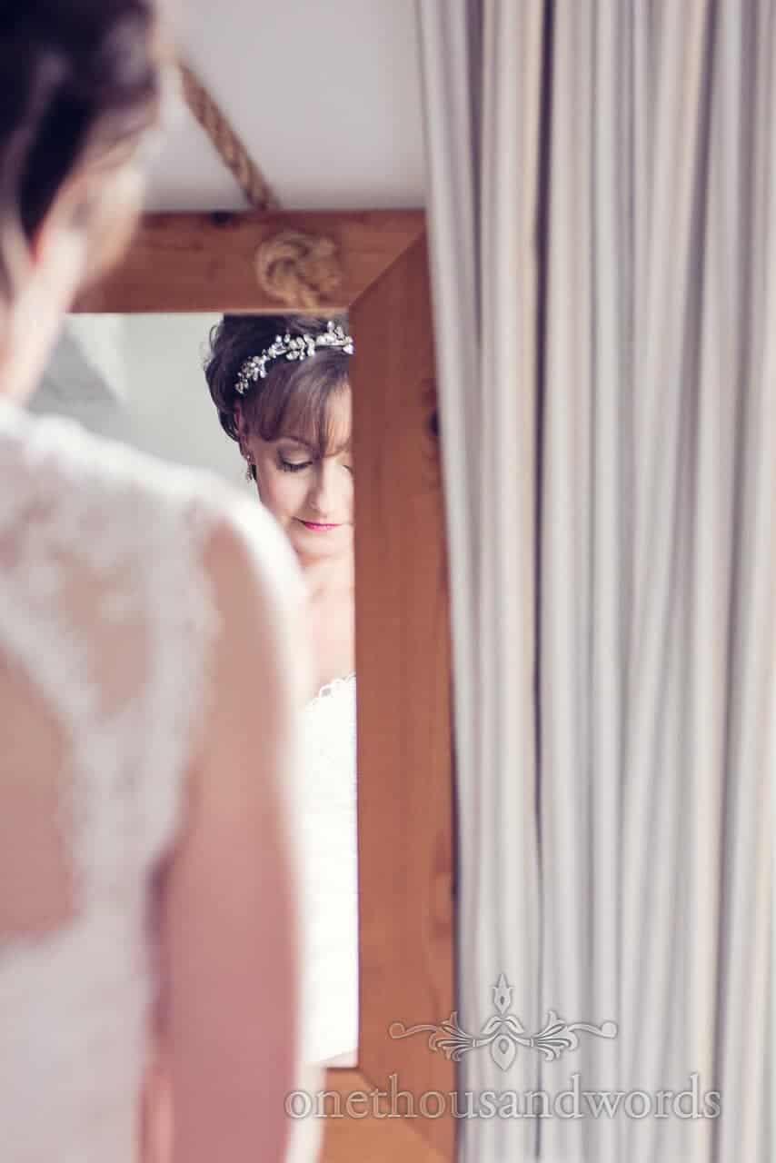 Peaceful bride on wedding morning photograph