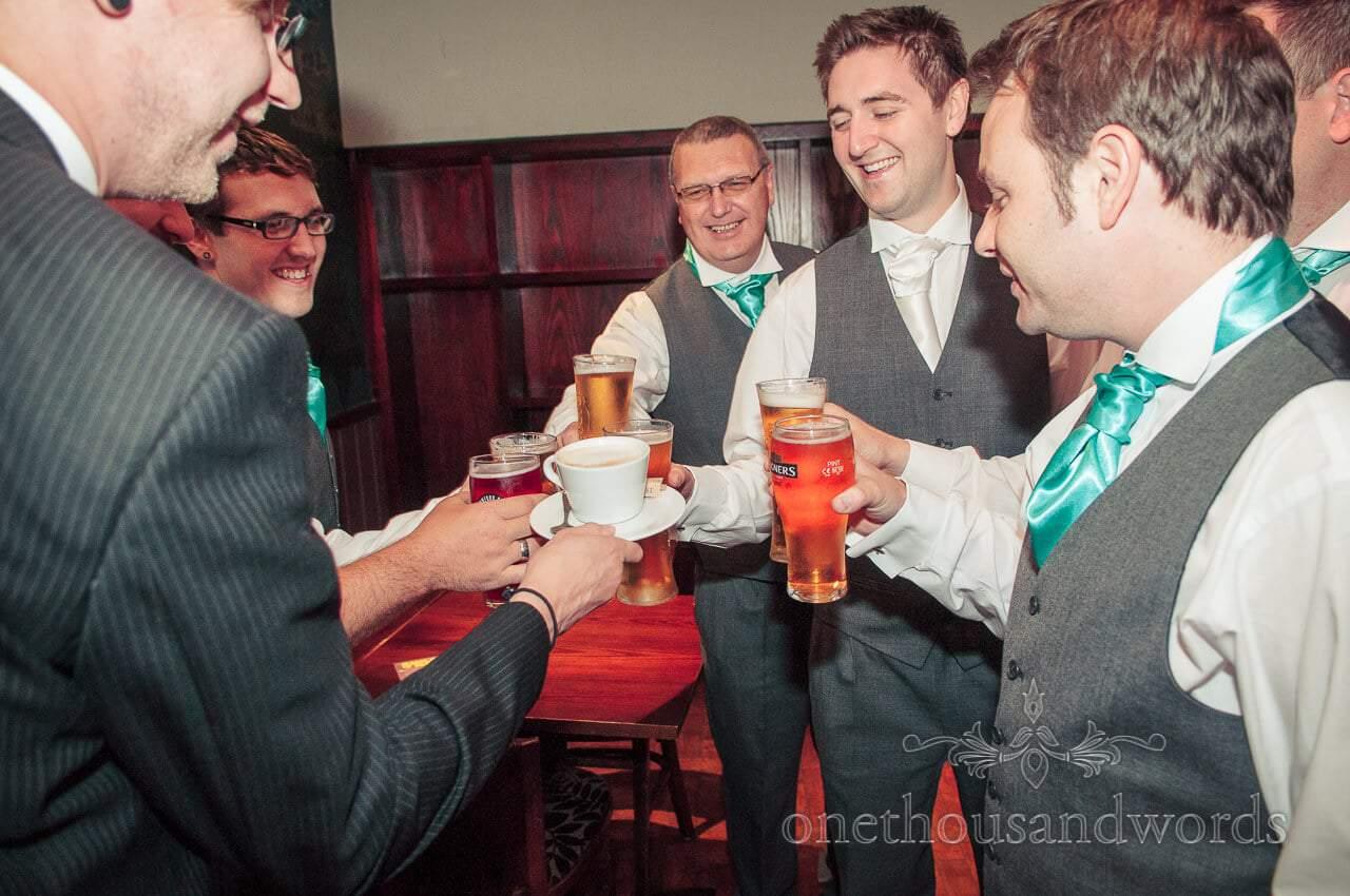 Pre-wedding beers with groomsmen on wedding morning