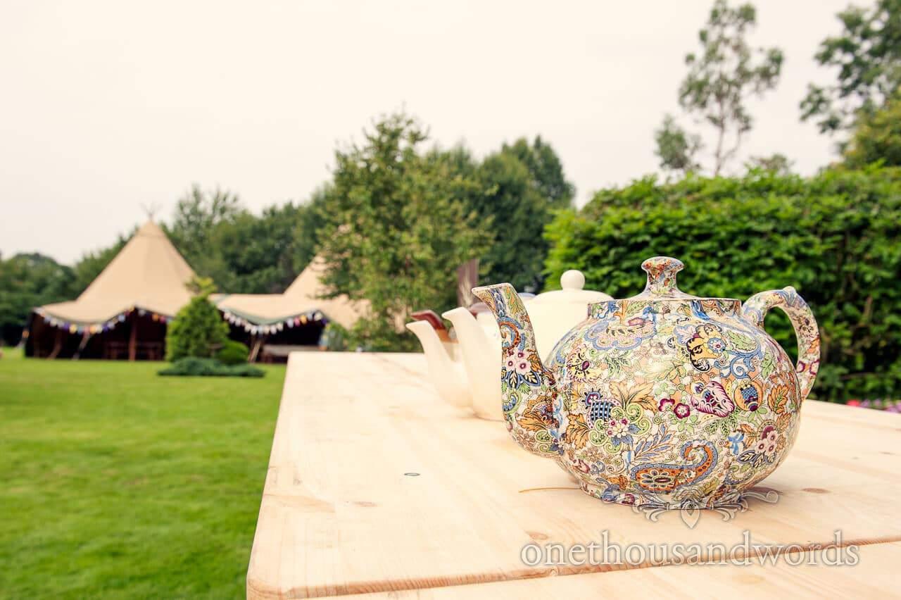 rustic tea pot at countryside wedding