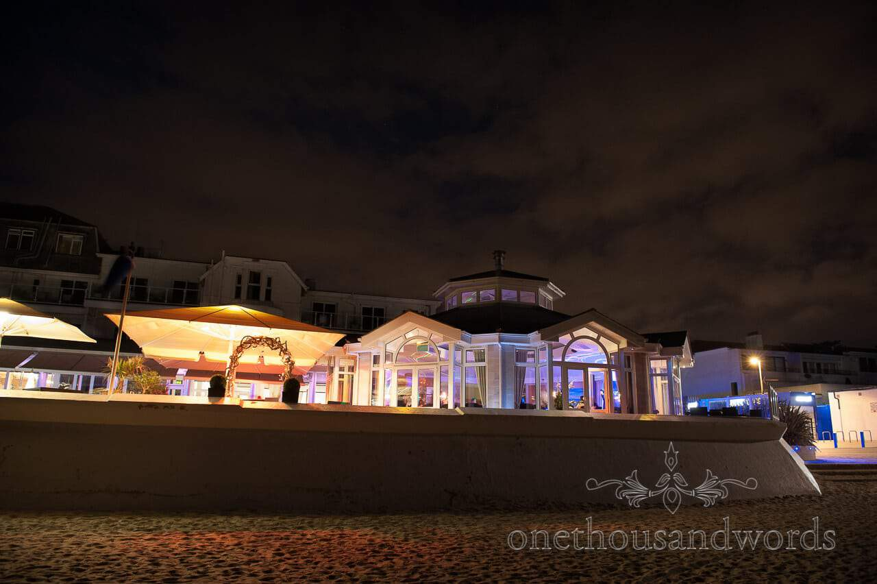 Sandbanks Hotel Wedding Venue at night