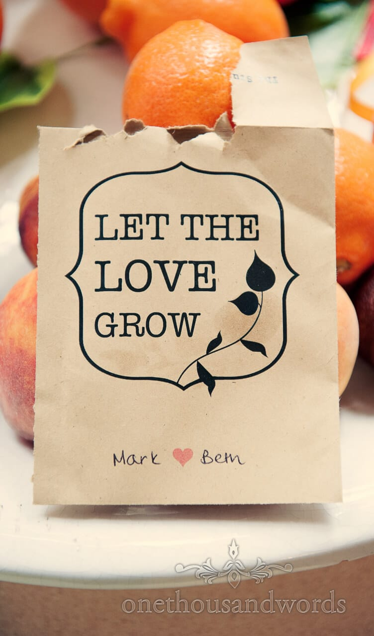 Seeds as wedding favours