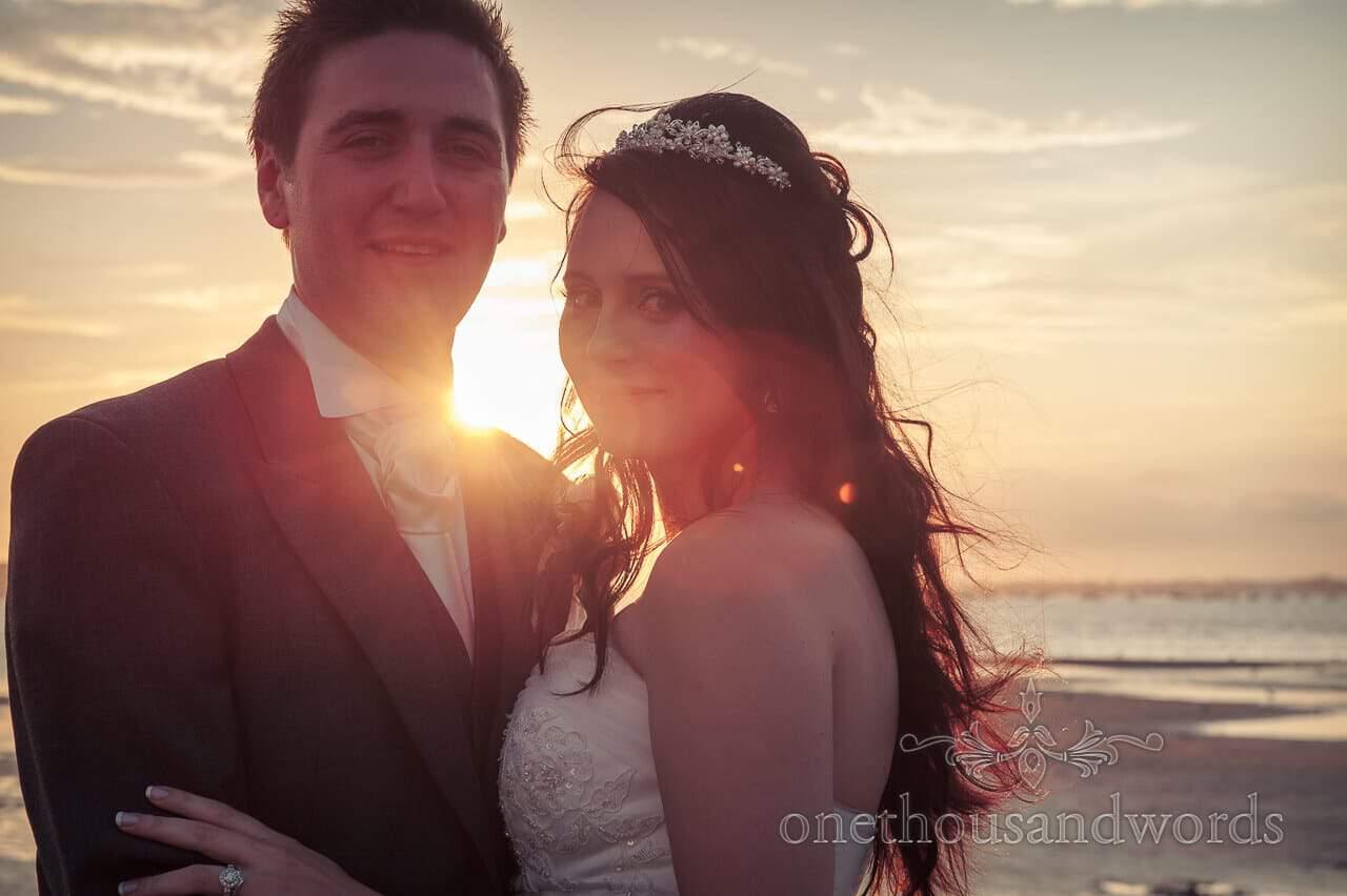 Sunset couple at Poole Hotel wedding