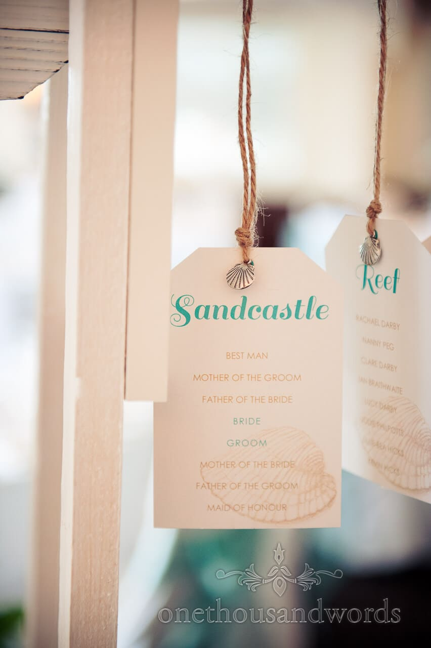Table plan cards at Poole Hotel wedding