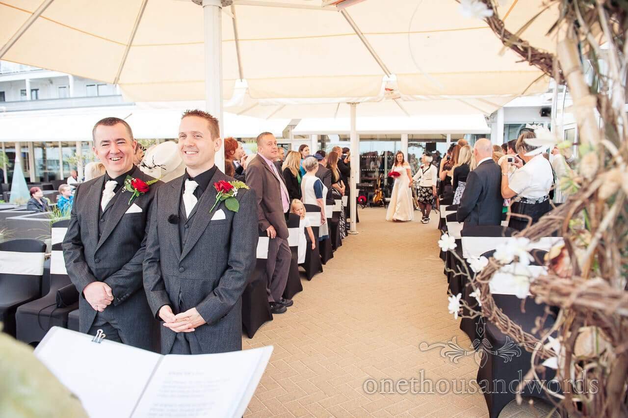 wedding ceremony at Sandbanks Hotel Dorset
