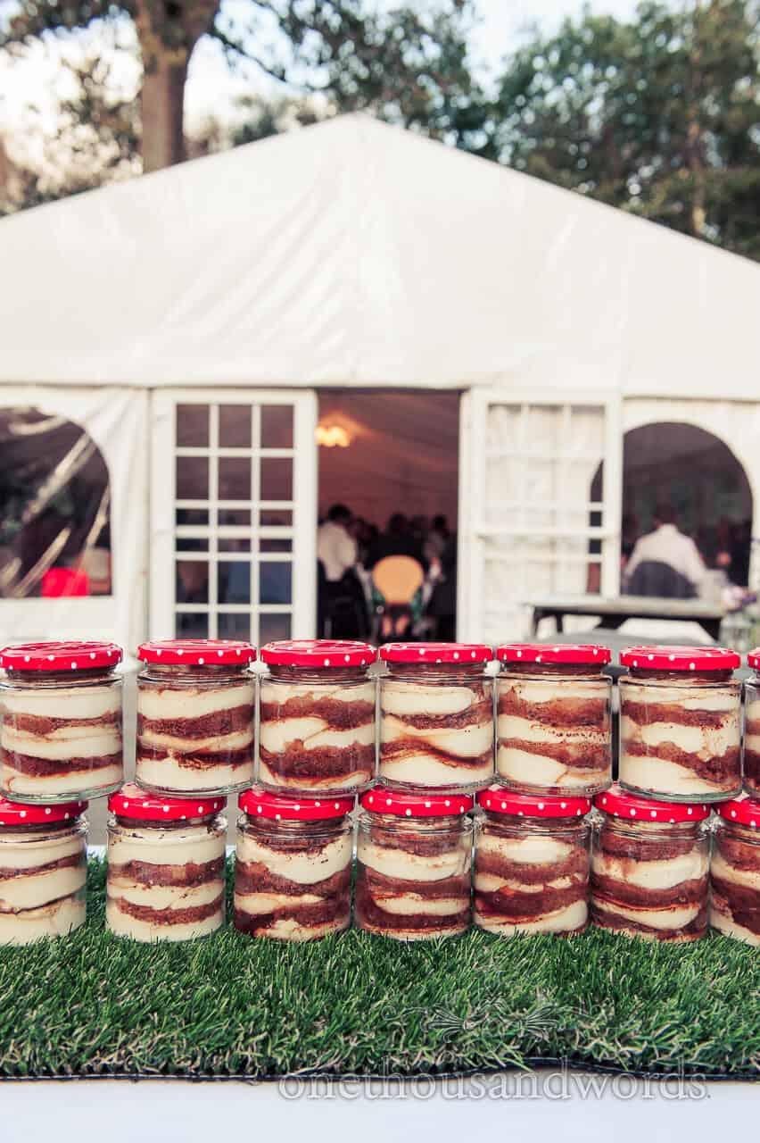 Wedding desert in jam jars at weddings in the wood