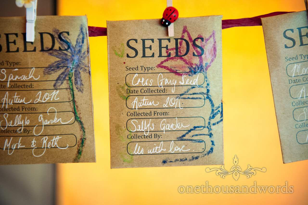 Wedding favour seed packets at countryside wedding
