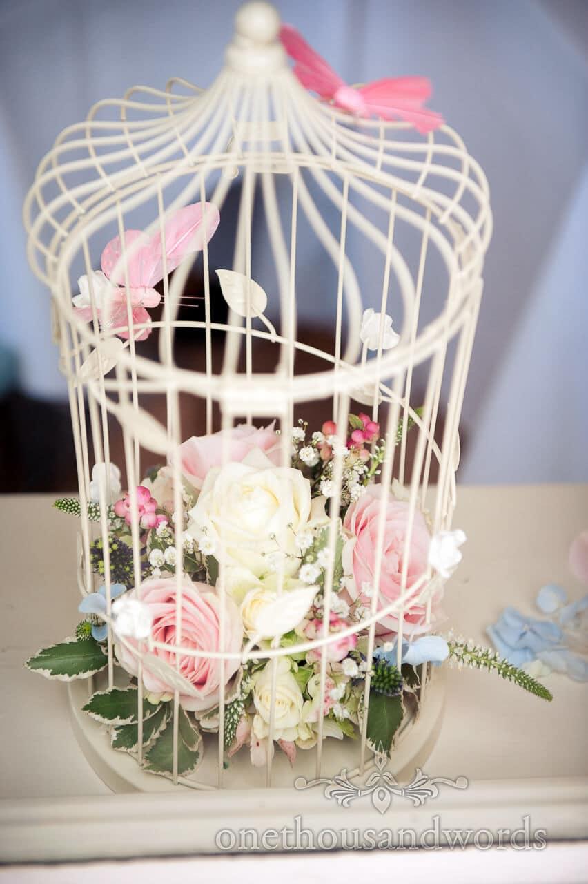 Wedding flowers in birdcage
