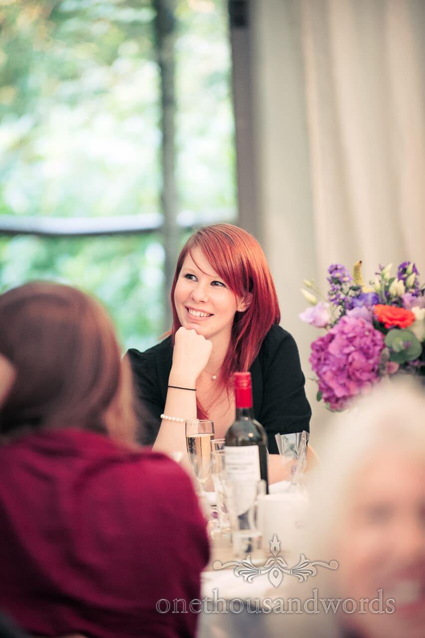 wedding guest portrait during wedding speeches