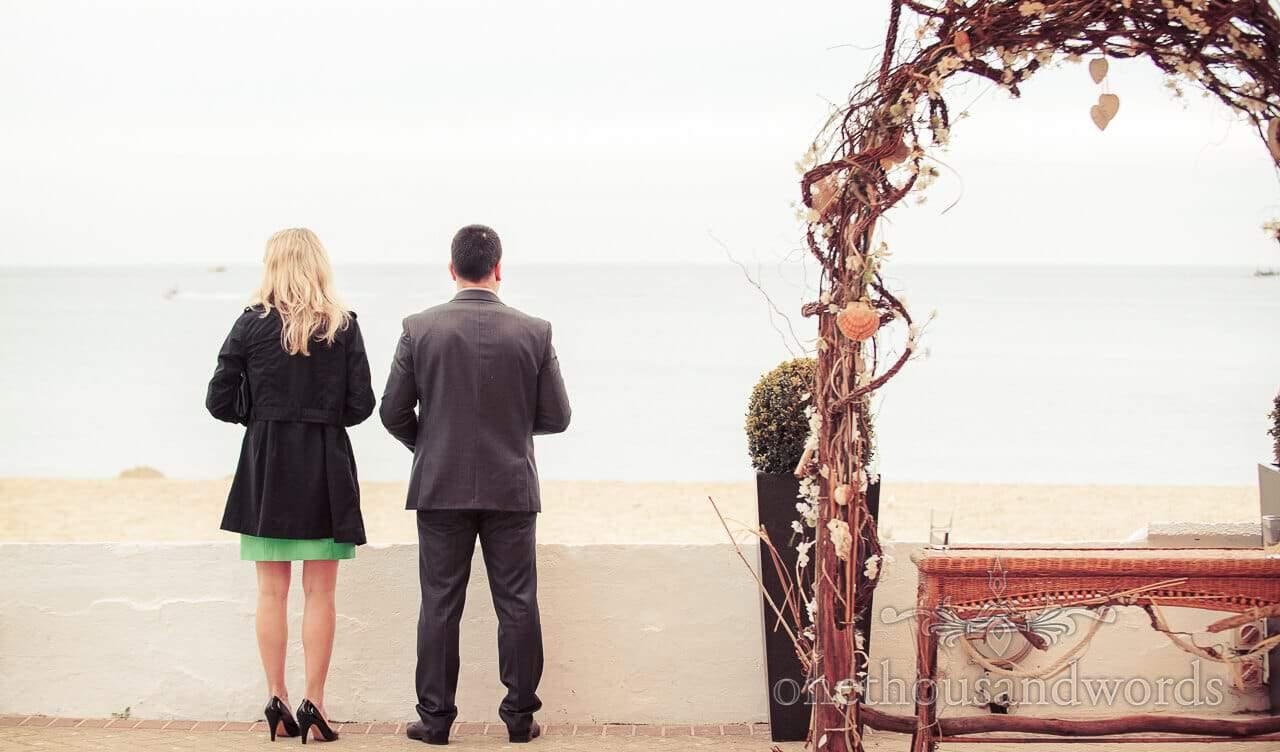 wedding guests at Sandbanks Beach wedding