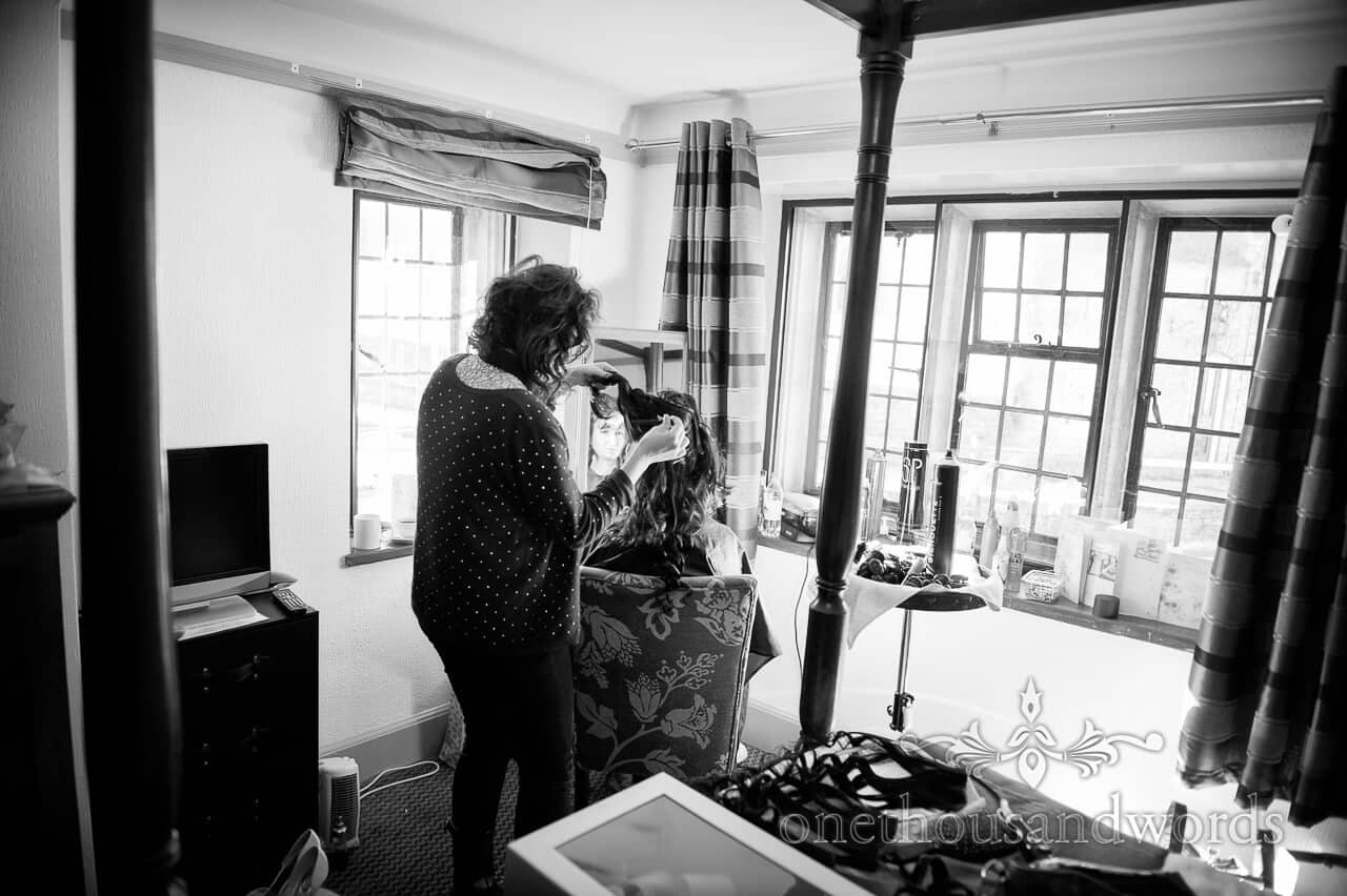 Wedding Hairdresser at Bankes Arms, Corfe Castle Wedding
