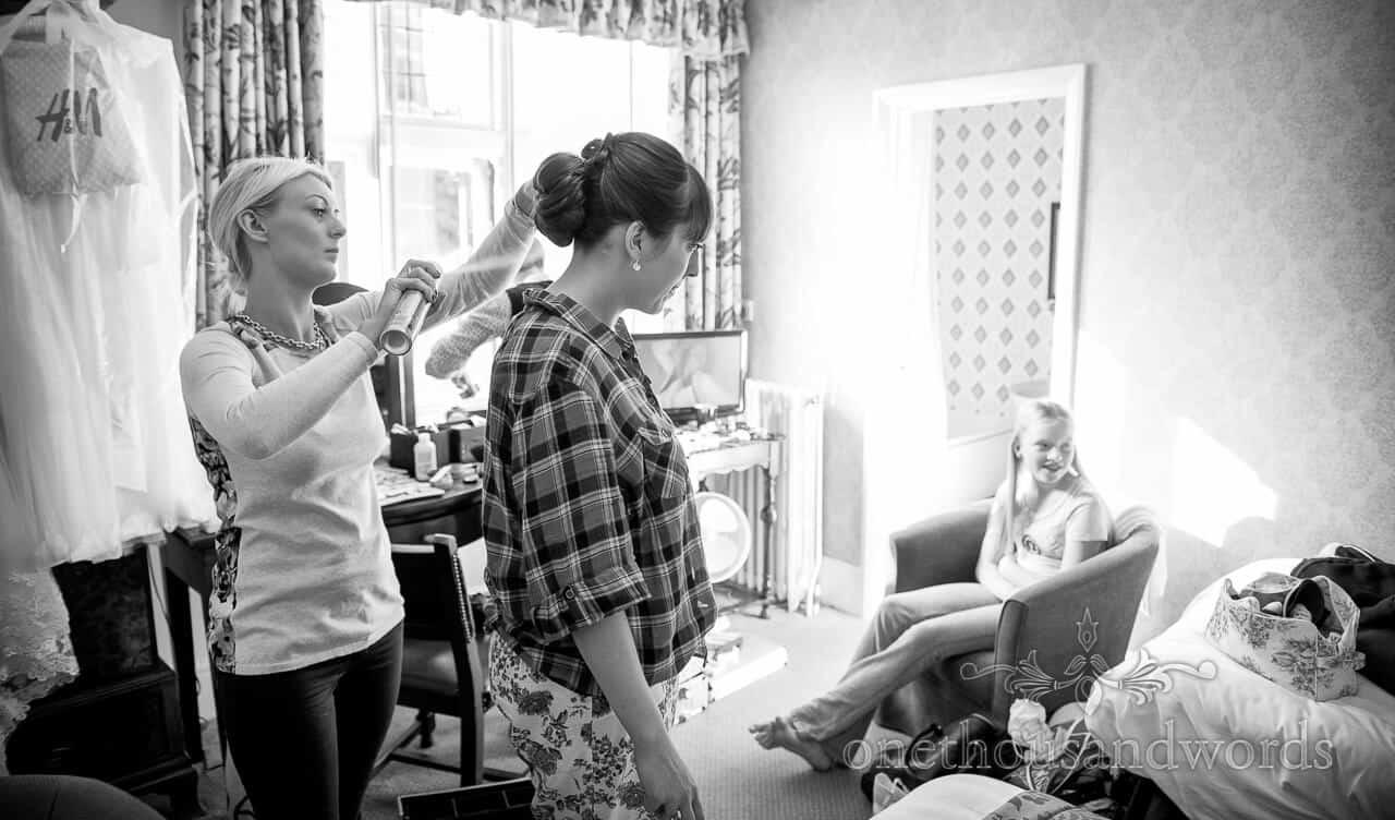 Wedding hairdresser at The Crown Manor House Hotel Lyndhurst