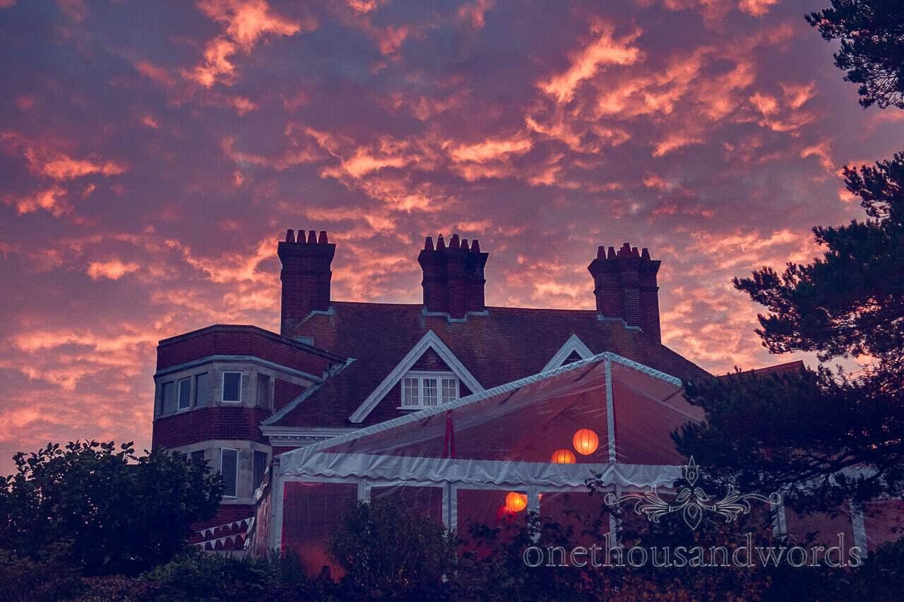 Wedding venue sunset photograph Dorset