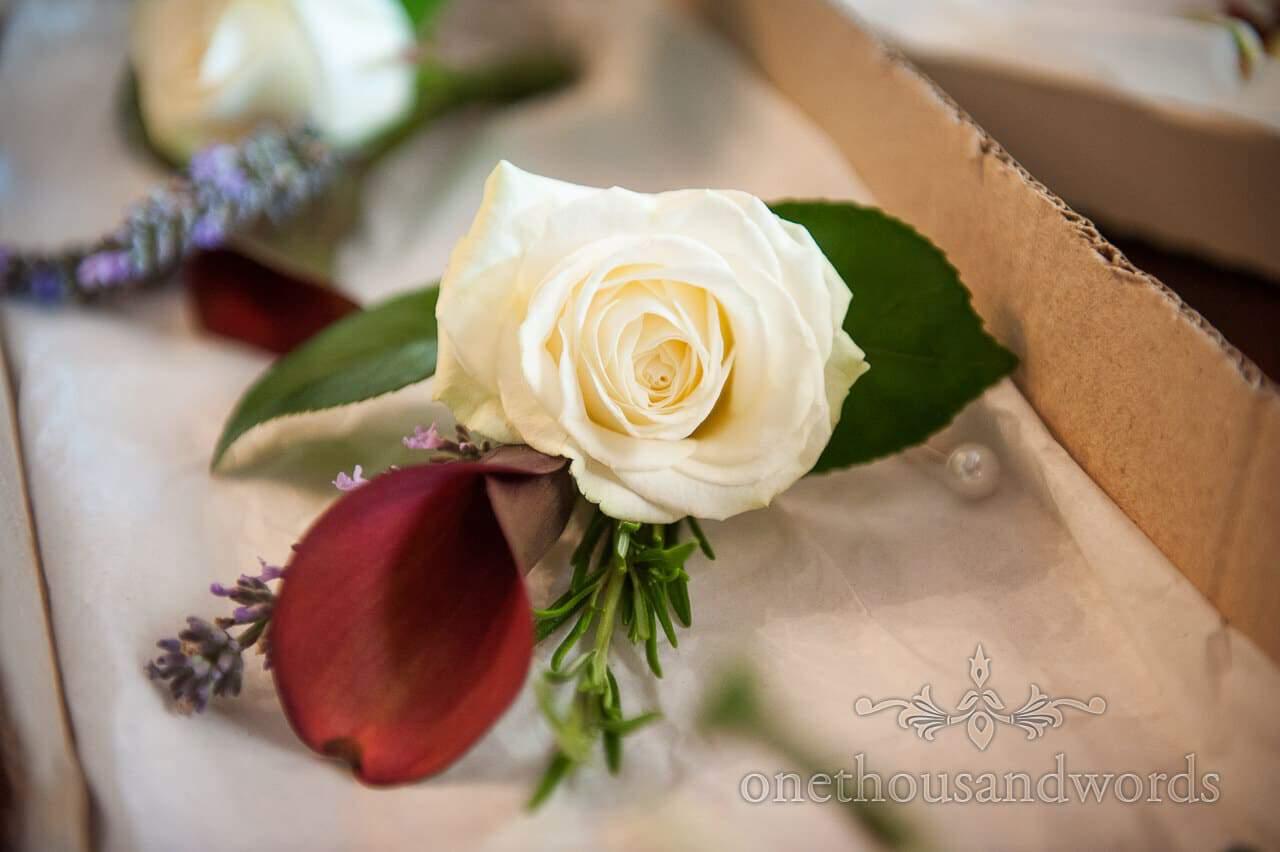 White Rose Wedding Button Hole