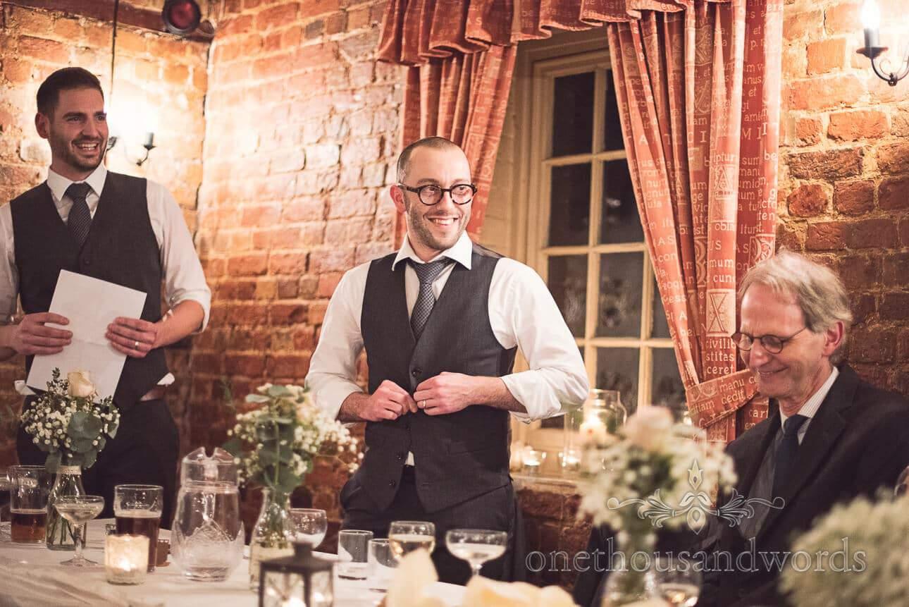 Best men making wedding speech from Berkshire wedding photographs