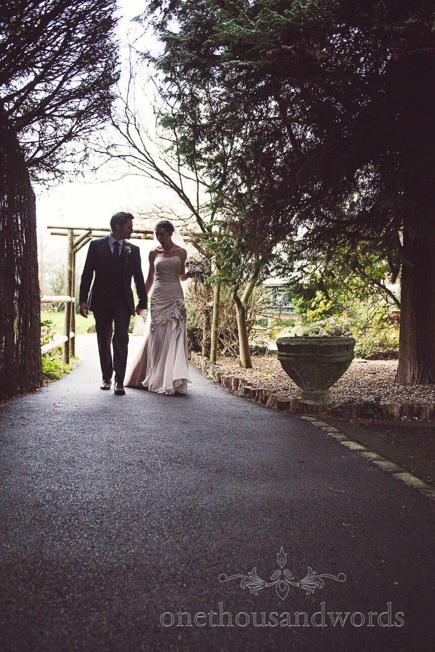 Bride and groom at Old Mill Wedding Venue in Aldermaston