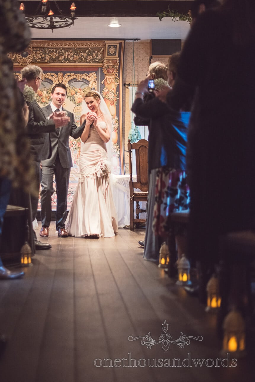 Bride and groom walk down the aisle, berkshire wedding photography