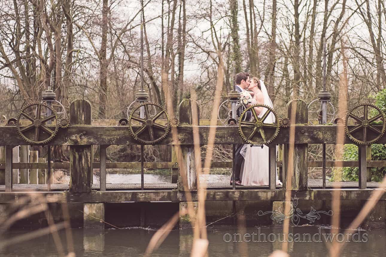 Bride and Groom with lock gates in Berkshire