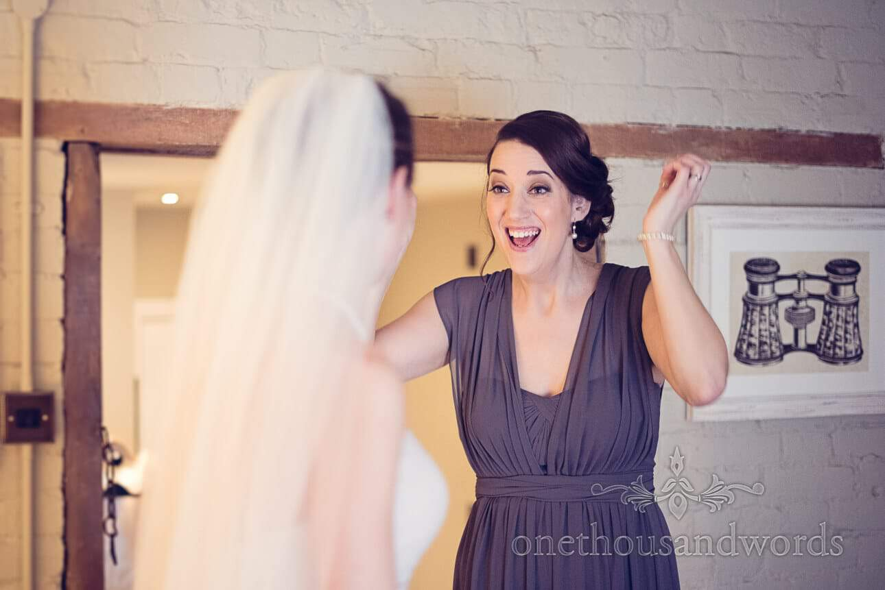 Bridesmaid sees bride in wedding dress for first time on wedding morning