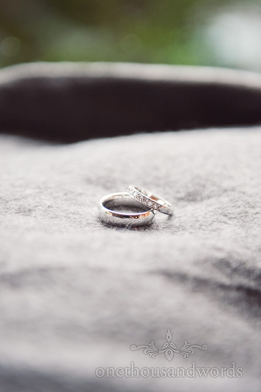Close up photography of wedding rings on wedding morning