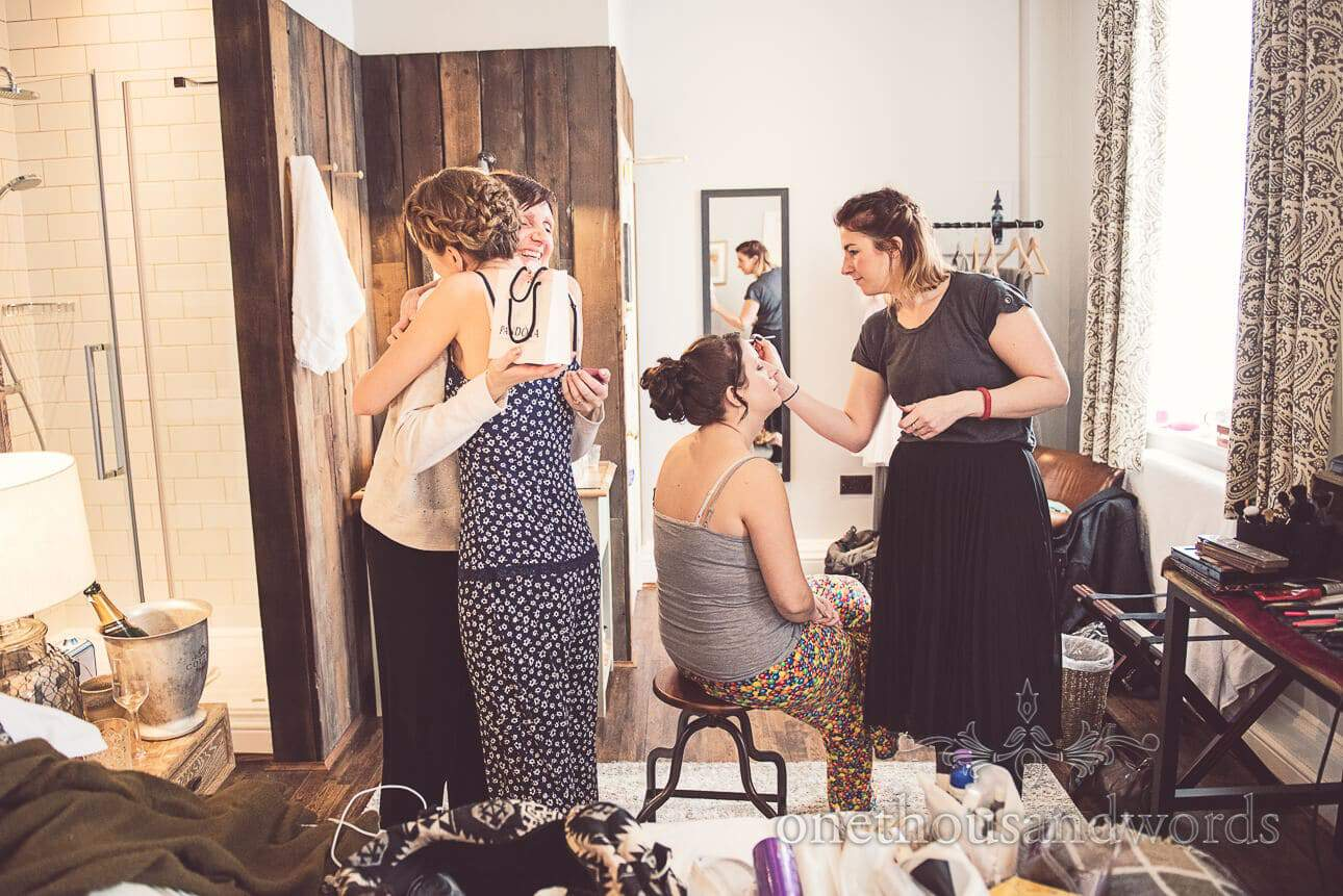 Documentary wedding photograph of bridal preparations on wedding morning