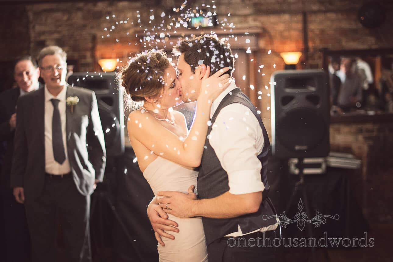 First dance with wedding confetti from Berkshire wedding photographs