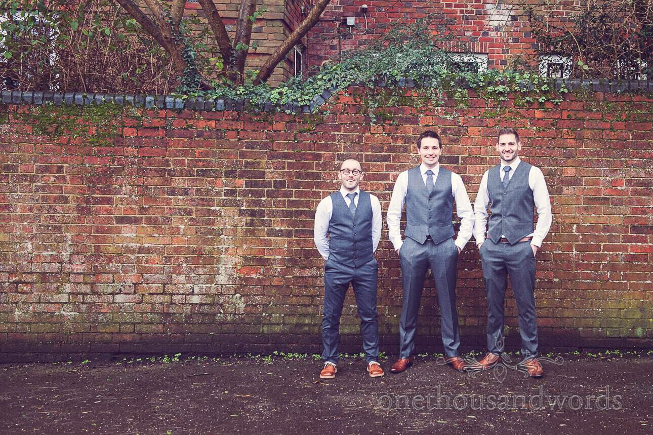 Groom and groomsman waistcoats photograph on wedding morning