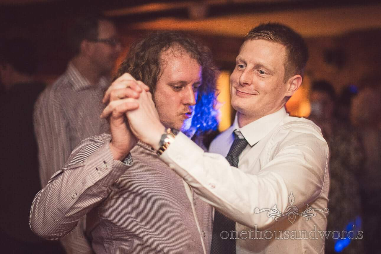male wedding guests dancing at Berkshire wedding venue