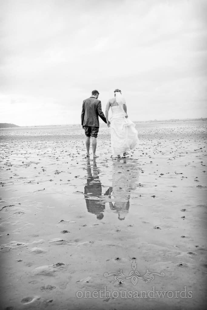 Black and white beach wedding photograph