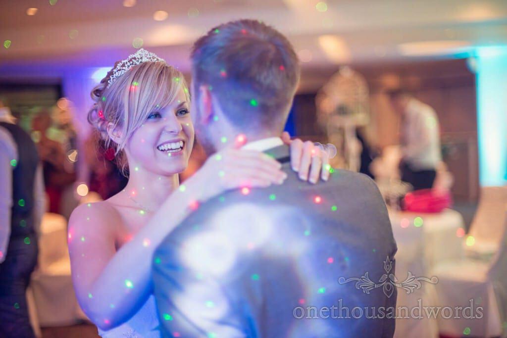 Happy bride dancing at Harbour Heights wedding evening disco