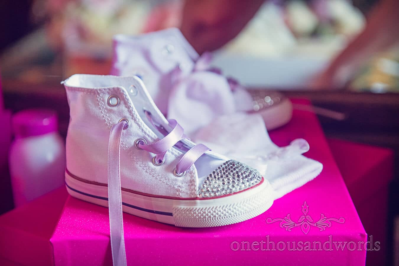 Tiny converse wedding boots with diamante toes for flower girl
