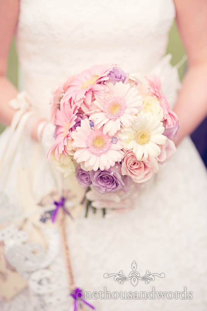 White pink and purple wedding flower bouquet photograph