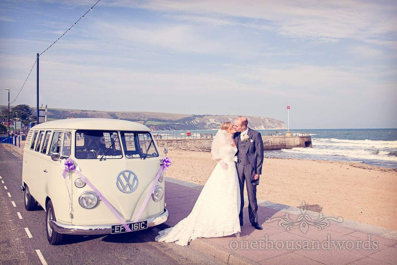 Seaside Wedding Photographs in Dorset at Durlston Castle