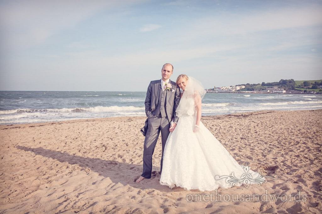 Bride and groom Seaside Wedding Photographs on Swanage beach