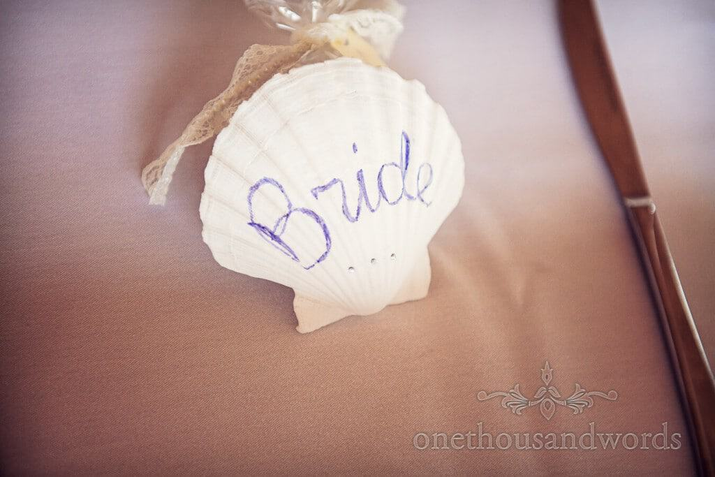 Seaside Wedding Photographs of white shell wedding place name